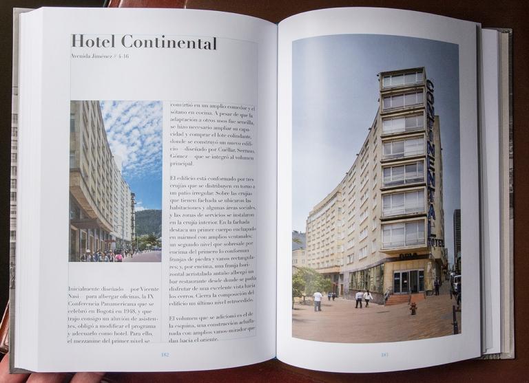 """Doble página del libro """"El río que corre"""" dedicada al hotel Continental"""